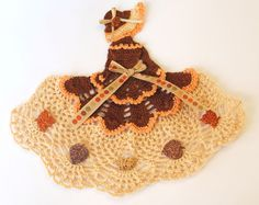 Fall Crinoline Lady w Autumn Leaves / Hand Crocheted Doily / Browns w Orange.  For color inspiration.