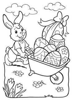 Easter coloring page, Easter Coloring Pictures, Free Easter Coloring Pages, Easter Coloring Sheets, Easter Bunny Colouring, Easter Bunny Pictures, Coloring Book Pages, Easter Art, Easter Crafts, Easter Paintings