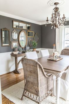 modern farmhouse dining room design, neutral dining room decor, fixer upper dining room ideas, with farmhouse table and chandelier with jute rug and rattan chairs dining room chairs and shiplap Dining Room Colors, Dining Room Wall Decor, Dining Room Design, Dining Room Furniture, Furniture Ideas, Furniture Design, Furniture Vanity, Steel Furniture, Country Furniture