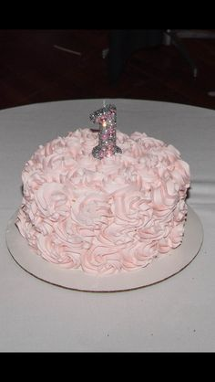 Smash cake with bling first birthday candle found on etsy;  first birthday; girl