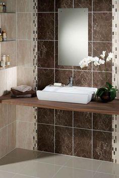 idées carrelage salle de bains de couleur marron et beige