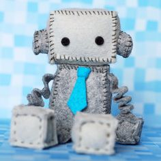 Felt Robot Plush with a Turquoise Blue Tie, Plush Robot, Geek Plush by GinnyPenny on Etsy