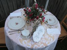 pink mini roses dishes and centerpiece..