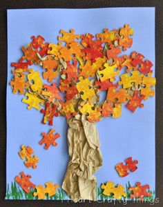 Make a Fall Puzzle Tree | Dollar Store Mom Frugal Fun – Crafts for Kids