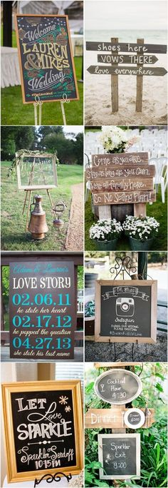 Very creative rustic wedding signs!