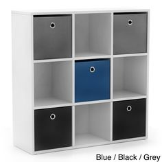 'Jolie' White Bookcase with Five Fabric Bins | Overstock.com Shopping - Great Deals on Kids' Storage