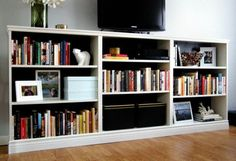 Turn 3 BILLY bookcases from IKEA into an entertainment stand in the living room. Check out the full tutorial