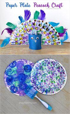 Pretty Peacock Craft - Dish Brush Painting