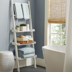 Features: -Ladder Shelf. -Material: Painted MDF wood composite. -Handy and sturdy. -Securely attaches to wall. -Each shelf holds up to 12 pounds. -Used in other areas of home for extra storage s