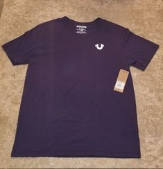 e8c63ab931985 True Religion Men s Classic Horseshoe Logo V-Neck Tee Shirt Top Size M Navy