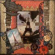Scraps of Darkness scrapbook kits: Michelle Phillips created this steampunk Paris layout with our April 2016 kit 'Travel Stories'. Subscribe to our kits and receive a new box of mixed media scrapbooking fun delivered to you each month! www.scrapsofdarkness.com