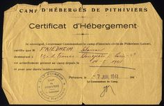 "A document dated 7 July 1941, which testifies to Solomon Friedheim's ""presence"" in the Pithiviers internment camp, signed by the camp commander."