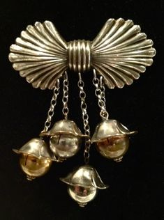 Silver Bow Brooch with dangling bell flowers