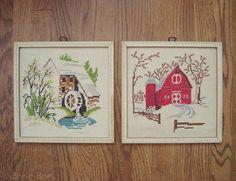 thrifted vintage barn cross stitch