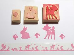 Hand carved stamps - fawn, rabbit & mushroom  by Plushable, via Flickr