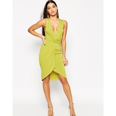 ASOS Deep Plunge Twist Midi Dress ($60) ❤ liked on Polyvore featuring dresses, lime, tall dresses, plunge dress, plunge bodycon dress, plunging neckline dress and lime green dress