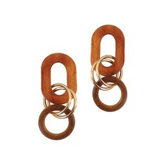 Description:A combination of wood and metallic components that interlink to form a drop earring Composed of wooden oval/egg shaped hoops linked together via a series of golden rings. Available in a mahogany oval shape and ivory egg shape. Specification:Wooden stud piece, zinc alloy rings, approximately 2.6 cm in length