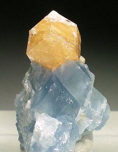 Honey Grossular on Blue Calcite