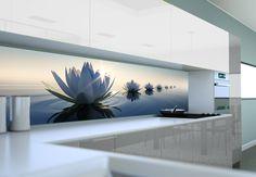 Panel szklany z motywem kwiatowym Kitchen Splashback Designs, Kitchen Backsplash, Glass Bathroom, Glass Kitchen, Panel W, Kitchen Room Design, Open Plan Kitchen, Küchen Design, Kitchen Styling
