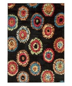 Look at this Black Circle Floral Perception Rug on #zulily today!