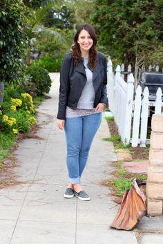 Black Vegan Leather Jacket + Gray Sweatshirt + Floral Print Tank + Skinny Jeans + Polka Dot Slip-on Sneakers #casual #outfit #spring