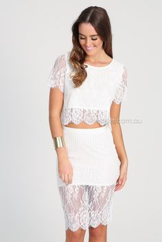 theodora lace two-piece - ivory | Esther clothing Australia and America USA, boutique online ladies fashion store, shop global womens wear w...