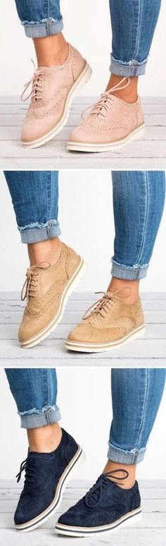 Women's Lace Up Perforated Oxfords Shoes Plus Size Casual Shoes Slip On Shoes, Ballet Shoes, Flat Shoes, Cute Shoes, Me Too Shoes, Look Fashion, Womens Fashion, Fashion Ideas, Fashion Shoes