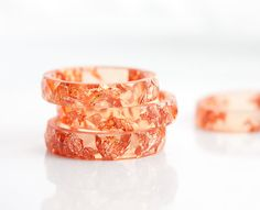 Orange Resin Stacking Ring Pink Gold Flakes Small Faceted Ring OOAK tangerine peach minimalist jewelry rusteam