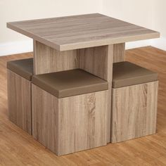 kitchen table set storage ottoman chairs breakfast nook dining square wood