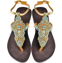 Turquoise Waters Beaded Sandals Mystique Style# 4191