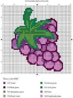 disegno punto croce uva
