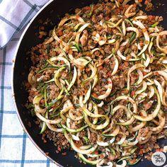 Espaguetis de calabacín con soja texturizada con verduritas - YANOESTOYGORDA by netastyle