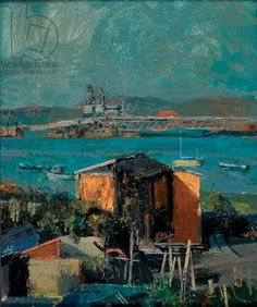 Francis Hamel, Allotments in Holyhead, 2002 (oil on copper) Allotments, Study Architecture, Anglesey, Pre Raphaelite, Source Of Inspiration, Greenhouses, Figure Painting, Large Prints, Contemporary Artists