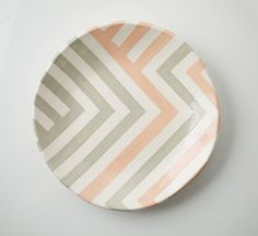 Food safe Grey & Peach Zag Dish by upintheairsomewhere on Etsy