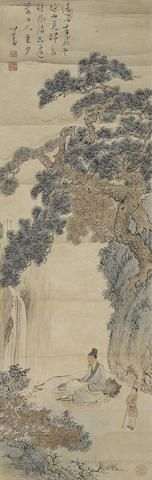 Pu Ru (1896-1963) Scholar in Waterfall Landscape Ink and color on paper, hanging scroll now mounted, inscribed with a poem, signed Xinyu and with three artist's seals reading jiuwangsun, Pu Ru, and jiang tian shui mo qiu guang wan. 38 3/4 x 12 1/2in (98.4 x 31.7cm) 溥儒 (1896-1963) 秋松觀瀑圖 設色紙本 鏡片