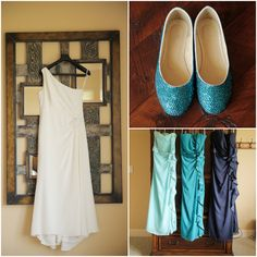 One Shoulder Bridal Gown and Blue Flats