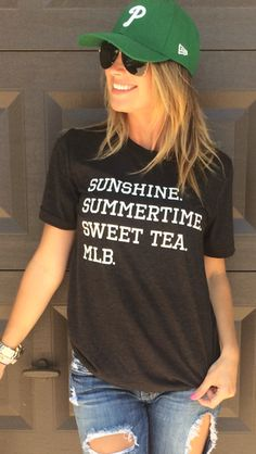 PERFECT for our southern girls! What is better than some SUNSHINE, SUMMERTIME, SWEET TEA, AND MLB! Grab this shirt with your four favorite things printed on it!