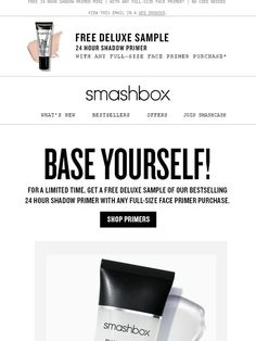 Try 24 Hour Shadow Primer for free Mattifying Primer, Smashbox Cosmetics, Face Primer, Coupon Codes, Best Sellers, Avon, Base, Mini, Inspiration