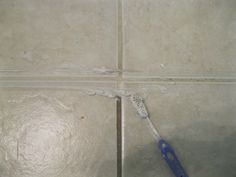 DIY Homemade Grout Cleaner.  I/4 cup bleach, 3/4 cup baking soda.
