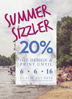 Summer sizzler DEAL, 20% off Design and print. #summer #summersizzler #deals #design #print #dealoftheday #art #beach #logo #minutemanpress #graphicdesign