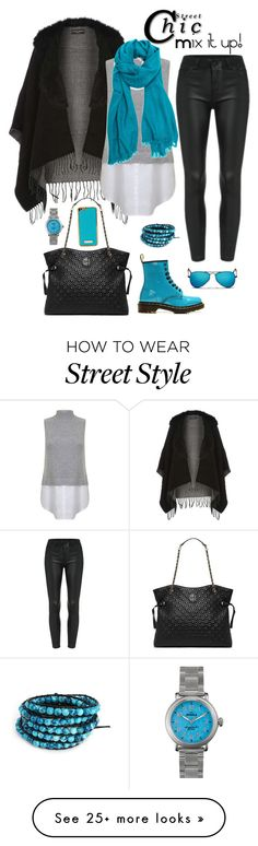 """""""Street Style Outfit:  mix it up! Black and blue"""" by www-haute-hot-trends-com on Polyvore featuring Dr. Martens, Dorothy Perkins, Miss Selfridge, Tory Burch, Ray-Ban and Shinola"""
