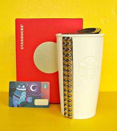 Starbucks Studded Goth Double Wall Traveler Travel Cup Tumbler Ceramic Mug 2014 #StarbucksCoffee