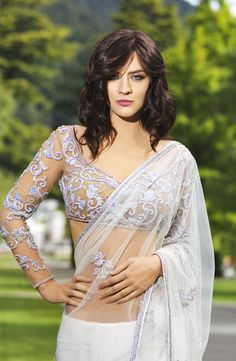 White Seasons sari. Love the stunning blouse! Simple yet elegant! ~ Indian Designer Sari