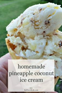 easy homemade ice cream When it's hot or you want a tropical treat, you need to make your own homemade pineapple coconut ice cream. Just 4 ingredients away from this delicious treat. Pineapple Coconut Ice Cream Recipe, Coconut Cream, Sober, Best Homemade Ice Cream, Best Ice Cream, Ice Cream Maker, Toasted Coconut, Frozen Desserts, Ice Cream Recipes