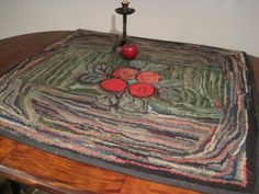 Antique 1800's Beautiful Cherries Hooked Rug  - Square Shaped  Sold North Bayshore Antiques