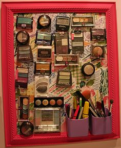 Make-up organizer:  Use a metal backing, stick-on magnets on the back of the make-up and pencil containers......great idea!