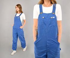 80's Blue Cotton LEE Overalls by discoleafvintage on Etsy