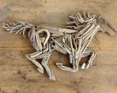 Driftwood Horse Wooden Art Sculpture by ReclaimedTime on Etsy Driftwood Wall Art, Driftwood Projects, Driftwood Sculpture, Horse Sculpture, Ribbon Sculpture, Sea Crafts, Rock Crafts, Twig Art, Wood Dog