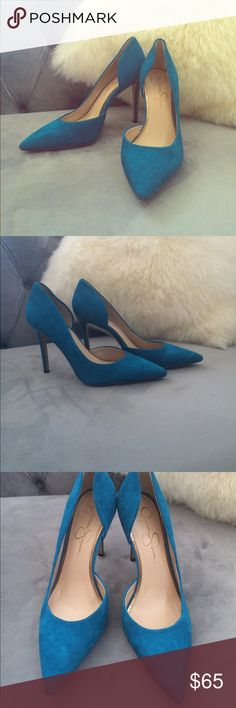 Simply Stunning Suede Heels Gorgeous cerulean blue, ultra soft kid suede leather stiletto heels. 4 inch heel. Worn one time. Sad to part with them as they were my favorite high heel purchase of all time, but due to an injury I cannot wear high heels any longer. Jessica Simpson Shoes Heels