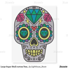 Large Sugar Skull custom Temporary Tattoo